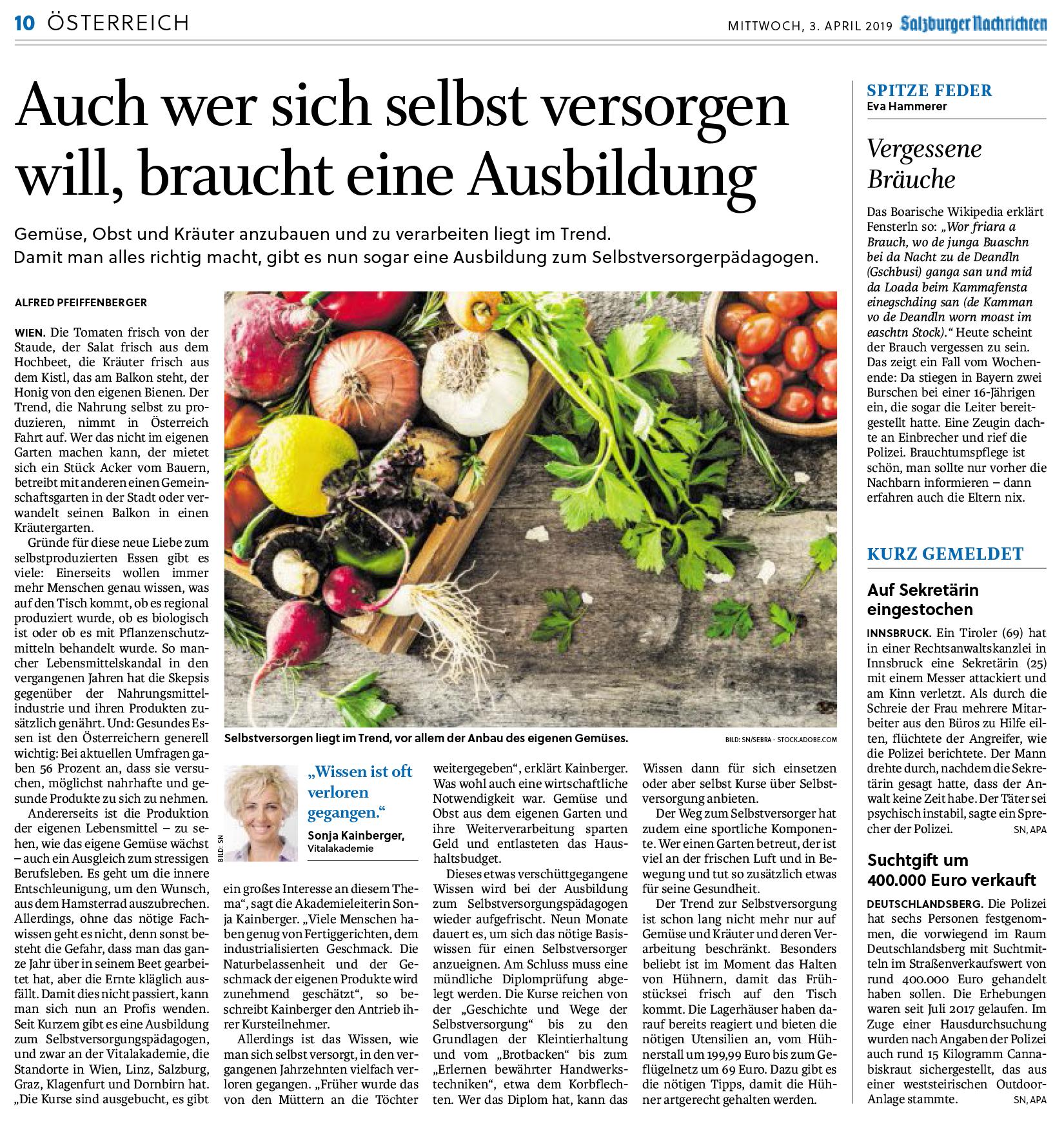Artikel Salzburger Nachrichten SVP April 2019