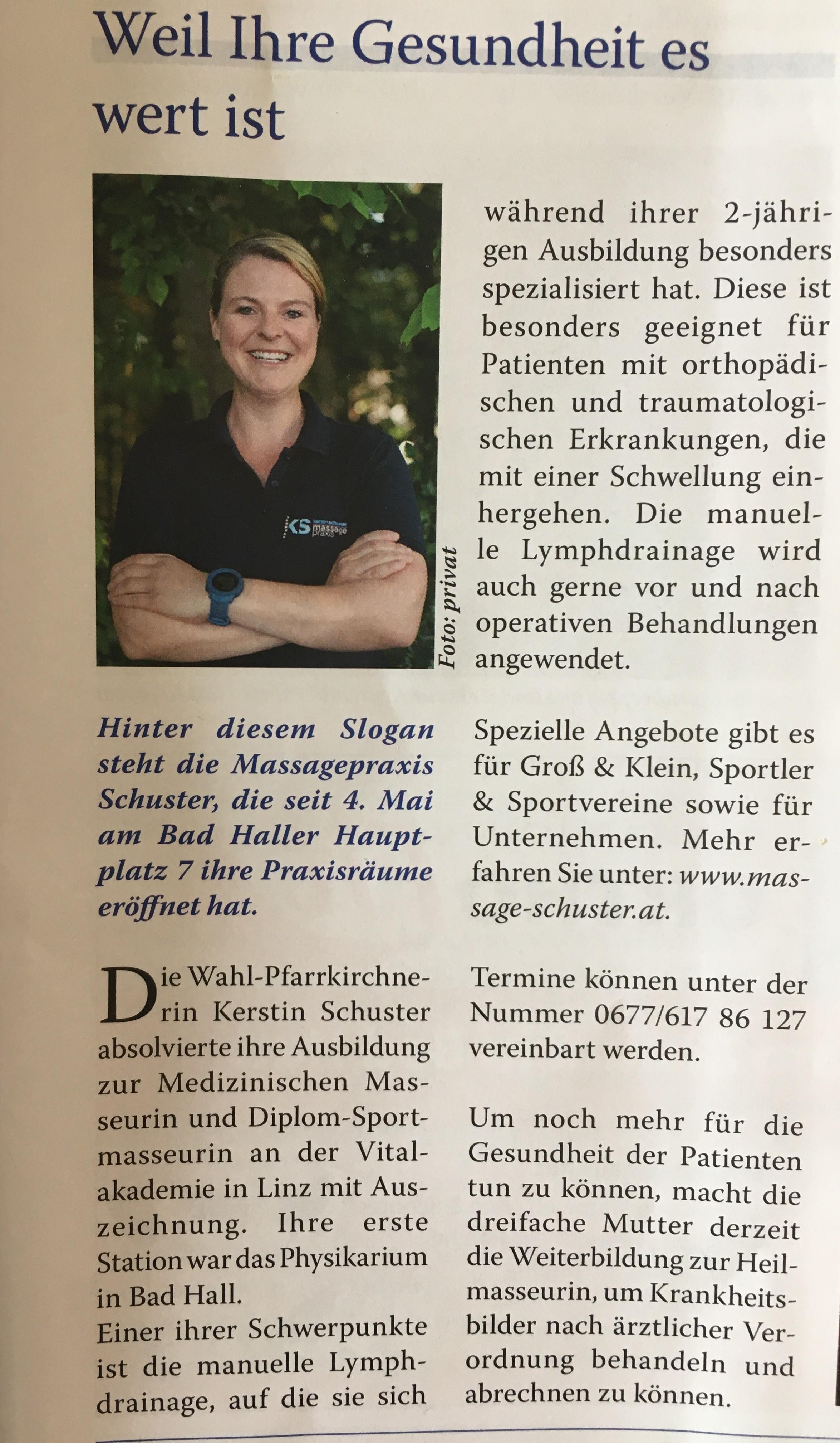 Zeitungsbericht Kerstin Schuster